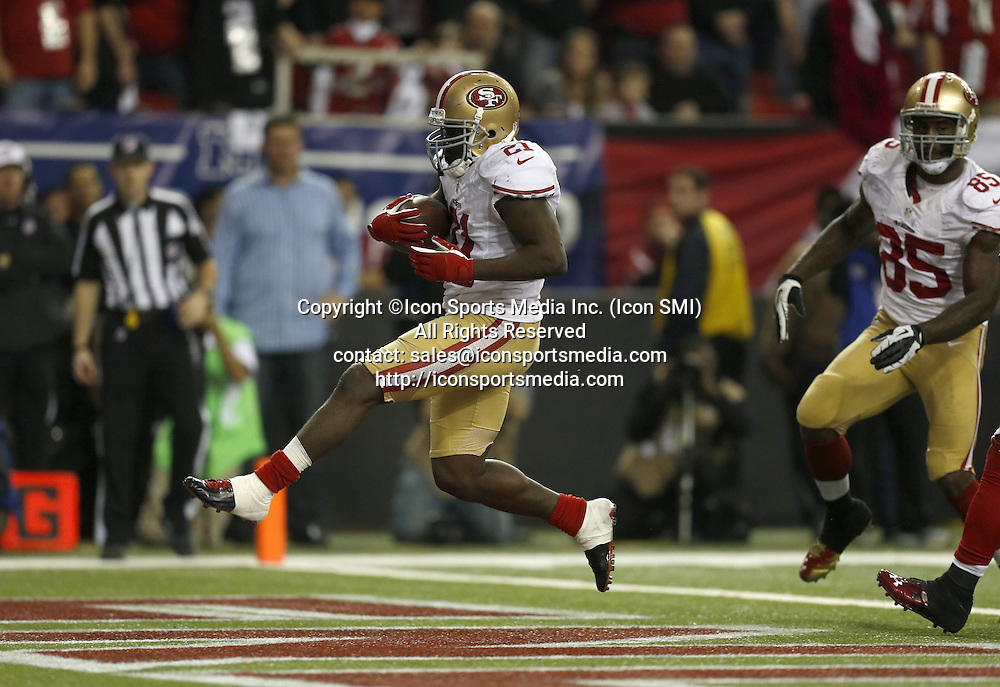Jan. 20, 2013 - Atlanta, GA, USA - San Francisco 49ers' Frank Gore (21) scores the winning touchdown against the Atlanta Falcons in the fourth quarter of the NFC Championship game at the Georgia Dome on Sunday, January 20, 2013, in Atlanta, Georgia. The San Francisco 49ers defeated the Atlanta Falcons, 28-24