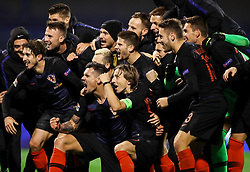 Players of Croatia celebrate after they won against Spain during the UEFA Nations League football match between Croatia and Spain, on November 15, 2018, at the Maksimir Stadium in Zagreb, Croatia. Photo by Morgan Kristan / Sportida