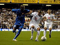 Photo: Ed Godden/Sportsbeat Images.<br /> Tottenham Hotspur v Anorthosis Famagusta. UEFA Cup, First Leg. 20/09/2007. Spurs' Benoit Assou-Ekotto (R), challenges William Boaventura.