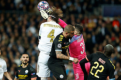Real Madrid CF's Sergio Ramos anc Ederson of Manchester City competes for the ball during the UEFA Champions League round of 16 first leg match Real Madrid v Manchester City at Santiago Bernabeu stadium on February 26, 2020 in Madrid, Sdpain. Real was defeated 1-2. Photo by Manu R.B.AlterPhotos/ABACAPRESS.COM