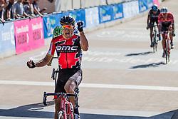 Sprint to victory. Van Avermaet get the win, Velodrome de Roubaix 2017 Paris-Roubaix, France, 9 April 2017, Photo by Thomas van Bracht / Peloton Photos, 2017 Paris-Roubaix, France, 9 April 2017, Photo by Thomas van Bracht / Peloton Photos