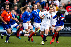 Sarah McKenna of England Women goes past the France Women defence - Mandatory by-line: Robbie Stephenson/JMP - 10/02/2019 - RUGBY - Castle Park - Doncaster, England - England Women v France Women - Women's Six Nations