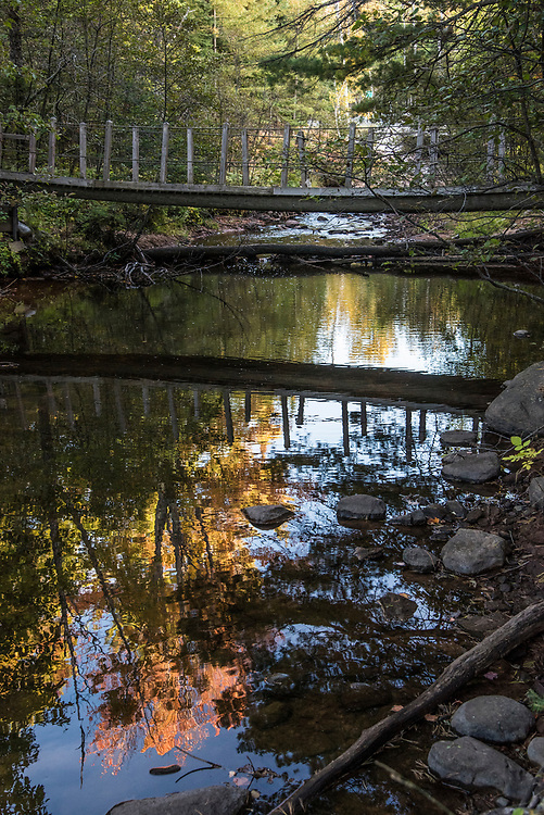 A bridge over Harlow Creek along the Little Presque Isle Songbird Trail near Marquette, Michigan.
