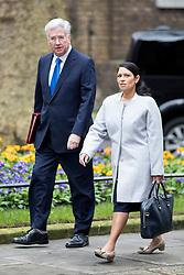© Licensed to London News Pictures. 21/02/2017. London, UK. Defence Secretary Michael Fallon and International Development Secretary Priti Patel arriving in Downing Street to attend a Cabinet meeting this morning. Photo credit : Tom Nicholson/LNP