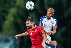 27.05.2016, Grenzlandstadion, Kufstein, AUT, Testspiel, Tschechien vs Malta, im Bild Paul Fennech (MAL), Theodor Gebre Selassie (CZE) // Paul Fennech (MAL), Theodor Gebre Selassie (CZE) during the International Friendly Match between Czech Republic and Malta at the Grenzlandstadion in Kufstein, Austria on 2016/05/27. EXPA Pictures © 2016, PhotoCredit: EXPA/ JFK