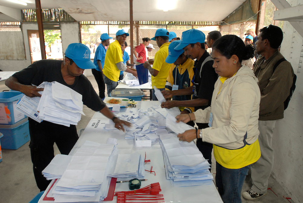 Preparation for vote counting June 30 2007 Timor-Leste Parliamentary Elections.