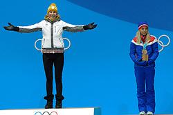 February 18, 2018 - Pyeongchang, South Korea - ANASTASIYA KUZMINA of Slovakia celebrates getting the gold medal in the Women's 12.5km Mass Start Biathlon event in the PyeongChang Olympic Games. (Credit Image: © Christopher Levy via ZUMA Wire)
