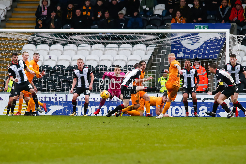 Craig Sibbald of Livingston with a shot on goal during the Ladbrokes Scottish Premiership match between St Mirren and Livingston at the Simple Digital Arena, Paisley, Scotland on 2nd March 2019.