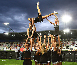 10.07.2011, Tivoli Stadion, Innsbruck, AUT, American Football WM 2011, Group A, Germany (GER) vs United States of America (USA), im Bild stunt from the cheerleader // during the American Football World Championship 2011 Group A game, Germany vs USA, at Tivoli Stadion, Innsbruck, 2011-07-10, EXPA Pictures © 2011, PhotoCredit: EXPA/ T. Haumer