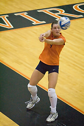 Virginia Cavaliers L Melissa Caldwell (9)..The Virginia Cavaliers Volleyball team defeated the Florida State Seminoles 3 games to 1 at Memorial Gymnasium in Charlottesville, VA on September 20, 2007.