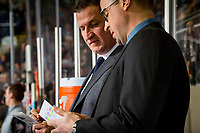 KELOWNA, CANADA - JANUARY 4:  Kelowna Rockets' head coach Adam Foote stands on the bench with assistant coach Kris Mallette against the Prince George Cougars on January 4, 2019 at Prospera Place in Kelowna, British Columbia, Canada.  (Photo by Marissa Baecker/Shoot the Breeze)