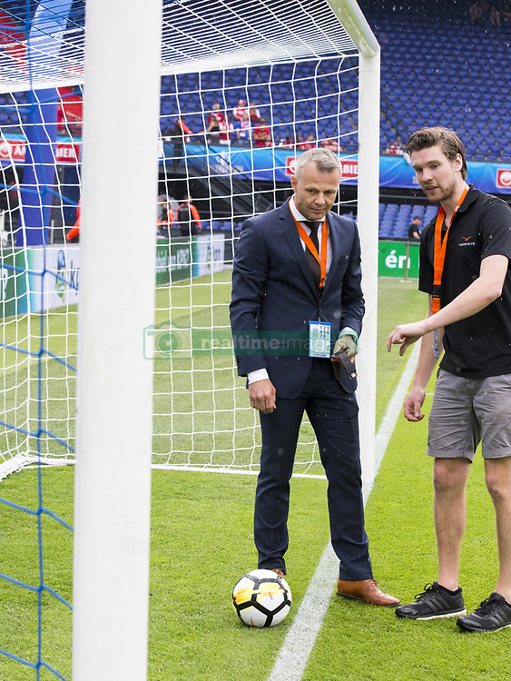 Bjorn Kuipers testing hawk eye technology during the Dutch Toto KNVB Cup Final match between AZ Alkmaar and Feyenoord on April 22, 2018 at the Kuip stadium in Rotterdam, The Netherlands.
