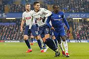 Tottenham Hotspur midfielder Erik Lamela (11) and Chelsea midfielder Ngolo Kante (7) during the EFL Cup semi final second leg match between Chelsea and Tottenham Hotspur at Stamford Bridge, London, England on 24 January 2019.