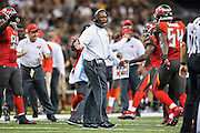NEW ORLEANS, LA - SEPTEMBER 20:  Head Coach Lovie Smith of the Tampa Bay Buccaneers congratulates players as the come off the field during a game against the New Orleans Saints at Mercedes-Benz Superdome on September 20, 2015 in New Orleans Louisiana. The Buccaneers defeated the Saints 26-19.  (Photo by Wesley Hitt/Getty Images) *** Local Caption *** Lovie Smith