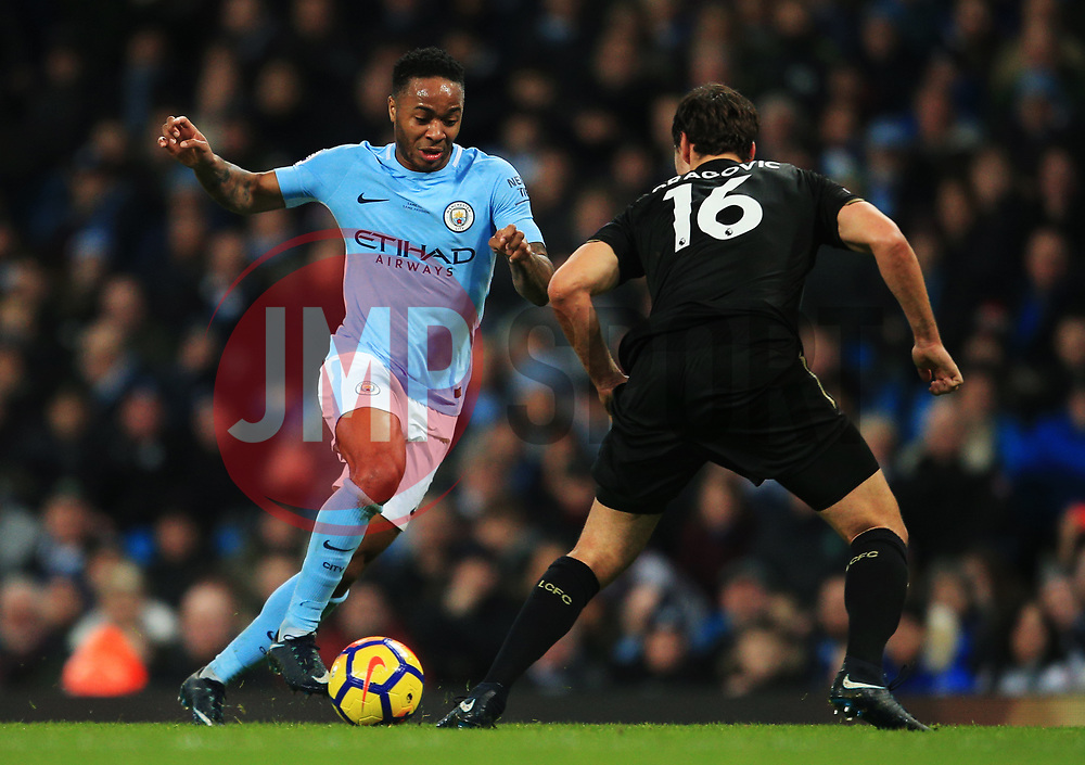 Raheem Sterling of Manchester City takes on Aleksandar Dragovic of Leicester City - Mandatory by-line: Matt McNulty/JMP - 10/02/2018 - FOOTBALL - Etihad Stadium - Manchester, England - Manchester City v Leicester City - Premier League