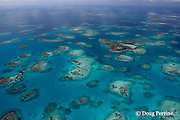 aerial view of Gladden Caye and patch reefs inside Belize Barrier Reef, off Placencia, Southern Belize, Central America ( Caribbean Sea )