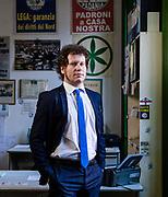 Matteo Bianchi, 39 anni, segretario provinciale Lega Nord Varese. Sede Lega Nord di Varese.   Matteo Bianchi, 39 years old, provincial secretary of Lega Nord political party in Varese. Lega Nord party headquarters in Varese.