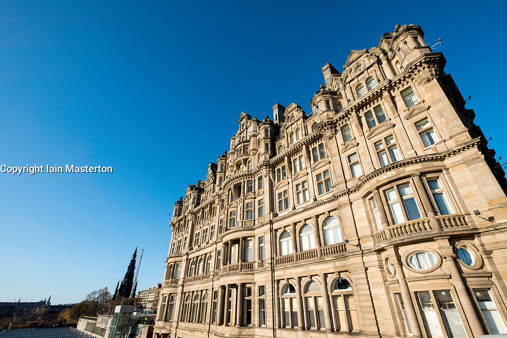 Exterior view of Balmoral Hotel on Princes Street in Edinburgh, Scotland, United Kingdom