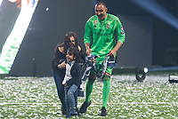 Real Madrid Keylor Navas with his wife, Andrea Salas and kid during the celebration of the 13th UEFA Championship at Santiago Bernabeu Stadium in Madrid, June 04, 2017. Spain.<br /> (ALTERPHOTOS/BorjaB.Hojas)