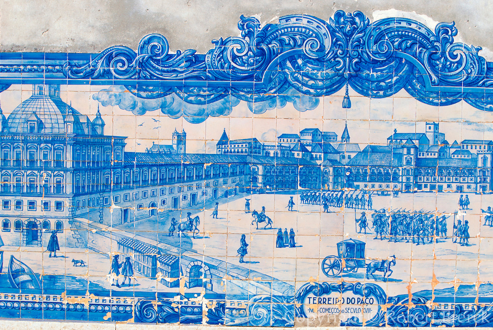 PORTUGAL, LISBON Museum of Azulejos (Tiles); wall tiles showing a 120 ft. panorama of Lisbon, completed in approximately 1738