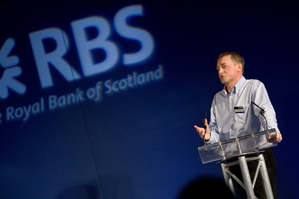 Photograph of a speaker at a Royal Bank of Scotland conference event in Edinburgh