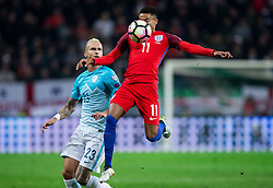 Aljaz Struna of Slovenia vs Jesse Lingard of England during football match between National teams of Slovenia and England in Round #3 of FIFA World Cup Russia 2018 Qualifier Group F, on October 11, 2016 in SRC Stozice, Ljubljana, Slovenia. Photo by Vid Ponikvar / Sportida