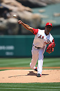 ANAHEIM, CA - MAY 14:  Starting pitcher Ervin Santana #54 of the Los Angeles Angels of Anaheim makes his first start of the 2009 season during the game against the Boston Red Sox at Angel Stadium in Anaheim, California on Thursday, May 14, 2009.  The Angels defeated the Red Sox 5-4 in 12 innings.  (Photo by Paul Spinelli/MLB Photos) *** Local Caption *** Ervin Santana