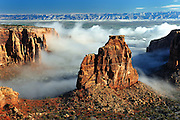 "A lingering fog after a spring storm provided some additional contrast of the ""grand view"" on the Colorado National Monument."