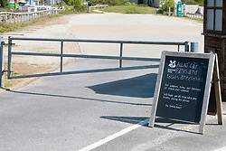 Coronavirus lockdown, Dorset UK April 2020.  Studland Bay National Trust carpark closed
