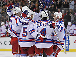 Nov 5, 2010; Newark, NJ, USA;  The New York Rangers celebrate a goal by New York Rangers center Brian Boyle (22) during the second period at the Prudential Center.