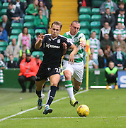 Celtic&rsquo;s Scott Brown  challenges Dundee&rsquo;s Greg Stewart - Celtic v Dundee - Ladbrokes Premiership at Celtic Park<br /> <br /> <br />  - &copy; David Young - www.davidyoungphoto.co.uk - email: davidyoungphoto@gmail.com