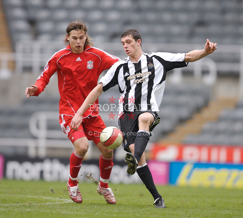 Newcastle, England - Saturday, March 10, 2007: Liverpool's Astrit Ajdarevic and Newcastle United's Andy Carroll during the FA Youth Cup Semi Final 1st Leg at St James' Park. (Pic by David Rawcliffe/Propaganda)