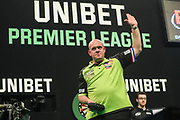 Michael van Gerwen waves to the crowd during the PDC Premier League Darts at Arena Birmingham, Birmingham, United Kingdom on 25 April 2019.