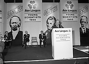 08/01/1988.01/08/1988.8th January 1988 .The Aer Lingus Young Scientist of the Year Award at the RDS, Dublin..Picture shows the Taoiseach Charles J. Haughey T.D. speaking at the opening of the exhibition with David Kennedy Chief Executive (left) and Niall Weldon, Chairman of the Judges.