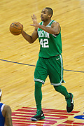 Boston Celtics Al Horford (42) during the NBA London Game match between Philadelphia 76ers and Boston Celtics at the O2 Arena, London, United Kingdom on 11 January 2018. Photo by Martin Cole.