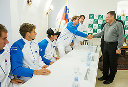 Players of Slovenia and Zoran Jankovic, major of Ljubljana during draw of Davis cup Slovenia vs South Africa competition on September 12, 2013 in City hall, Ljubljana, Slovenia. (Photo by Vid Ponikvar / Sportida.com)