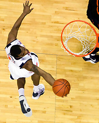 Virginia guard Jeff Jones (23) shoots against Miami.  The Virginia Cavaliers fell to the Miami Hurricanes 62-55 at the John Paul Jones Arena on the Grounds of the University of Virginia in Charlottesville, VA on February 26, 2009.