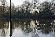 © Licensed to London News Pictures. 12/01/2014. Wraysbury, UK. Flooding in Wraysbury, Berkshire today 12th January 2014.  Flooding and property damage is expected to continue along the River Thames.  Large areas of Britain are experiencing flooding after wet weather. Photo credit : Stephen Simpson/LNP