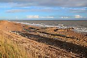 Rapid erosion shingle beach landform, North Sea coast, Hollesley Bay, Bawdsey, Suffolk, England, UK