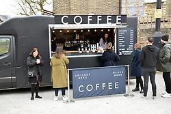 Coffee stall, Brockley Saturday market, Lewisham, South London March 2019 UK