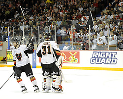 The Calgary Hitmen celebrate a goal in Game 4 of the 2010 MasterCard Memorial Cup in Brandon, MB on Monday May 17. Photo by Aaron Bell/CHL Images