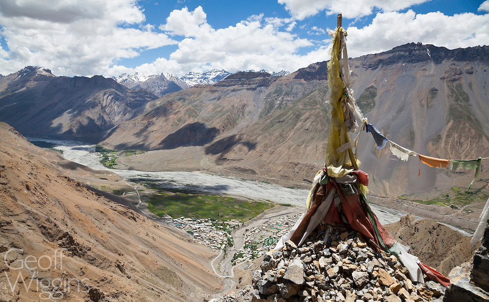 Buddhist chorten overlooking the town of Kaza in the Himalayan region of Himachal Pradesh, India