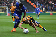 Cardiff City midfielder Nathaniel Mendez Laing (19) goes round Hull City midfielder David Meyler (8)  during the EFL Sky Bet Championship match between Hull City and Cardiff City at the KCOM Stadium, Kingston upon Hull, England on 28 April 2018. Picture by Mick Atkins.
