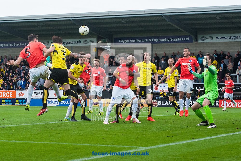 Lewis Dunk of Brighton and Hove Albion (far left) sees his header hit the bar during the Sky Bet Championship match at the Pirelli Stadium, Burton upon Trent<br /> Picture by Matt Wilkinson/Focus Images Ltd 07814 960751<br /> 17/09/2016