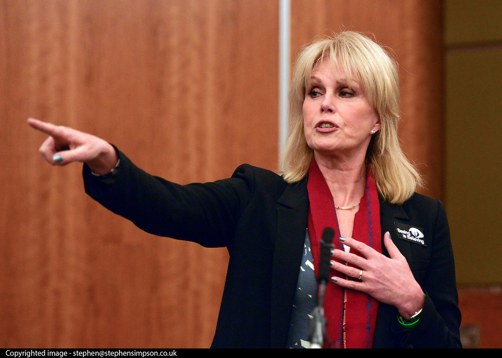 """© Licensed to London News Pictures. 04/03/2013. Heathrow, UK Joanna Lumley - Expedition Trustee. Explorer Sir Ranulph Fiennes returns to the UK after pulling out of """"The Coldest Journey"""" Expedition to the Antarctic at winter due to frostbite. The Coldest Journey Press Conference today 4th March 2013 at Heathrow Airport. Photo credit : Stephen Simpson/LNP"""