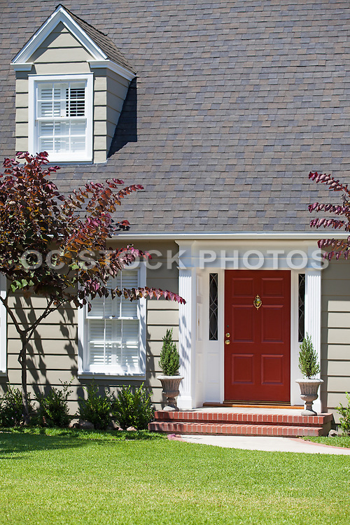 Red Front Door and Porch Entry Way
