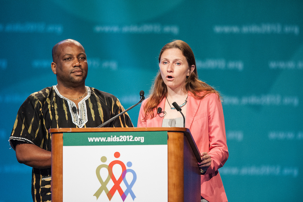 Ian McKnight and Anna Zakowicz speak at the closing ceremony of the 2012 International AIDS Conference in Washington, D.C.