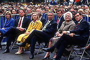 Tipper & Al Gore, Hillary Clinton, Colin Powell, Barbara Bush and Tom Ridge attend the Presidents Summit for America's Future in Philadelphia, PA.