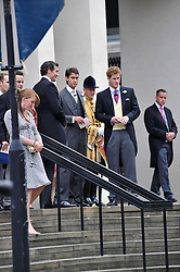 HRH PRINCE HARRY and William Van Cutsem at the wedding of Nicholas Van Cutsem to Alice Hadden-Paton at The Guards Chapel, Wellington Barracks, London on 14th August 2009.