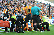Nouha Dicko about to be stretchered off during the Sky Bet Championship match between Wolverhampton Wanderers and Charlton Athletic at Molineux, Wolverhampton, England on 29 August 2015. Photo by Alan Franklin.